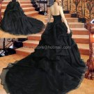 Strapless Wedding Dress Black Organza Cathedral Train Wedding Gown C131211