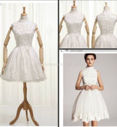 Sleeveless Wedding Dress A-line Lace Knee Length Wedding Evening Party Dress H13125