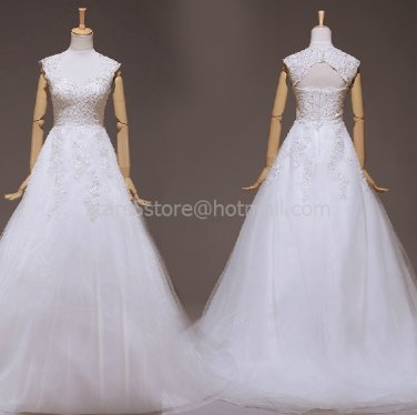 Cap Sleeves Wedding Dress A-line Lace Tulle Beads Wedding Ball Gown H13172