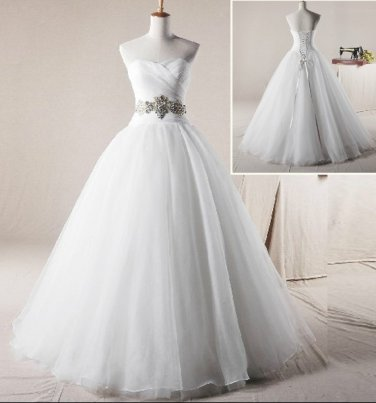 Strapless Sweethart Wedding Dress Princess Crystalstones SASH Bridal Wedding Gown H13179