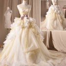 A-line Strapless Wedding Dress Princess Cream Organza Bridal Wedding Gown H13181