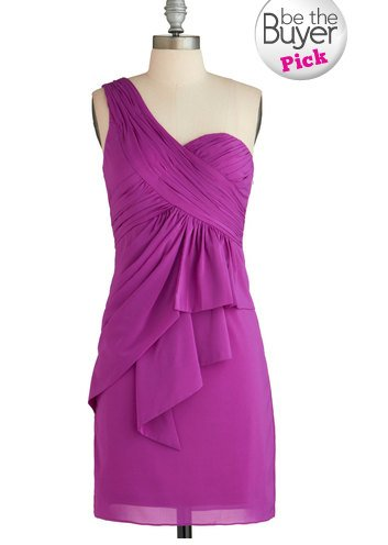 Short Bridesmaid Dresses Purple Chifon A-line One Shoulder Wedding Party Dress MB142