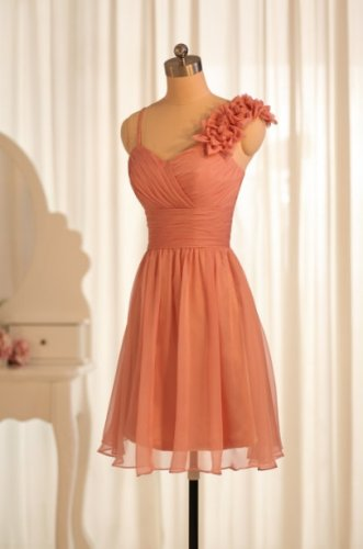 Short Bridesmaid Dresses Orange Chifon A-line One Shoulder Wedding Party Dress MB144