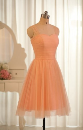 Short Bridesmaid Dresses Coral Tulle A-line Cap Sleeves Wedding Party Dress MB146
