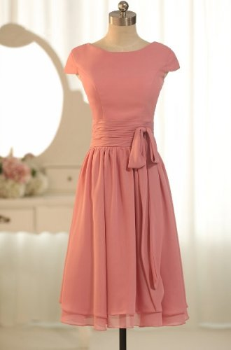 Short Bridesmaid Dresses Coral Chiffon A-line CAP Sleeves  Wedding Party Dress MB149
