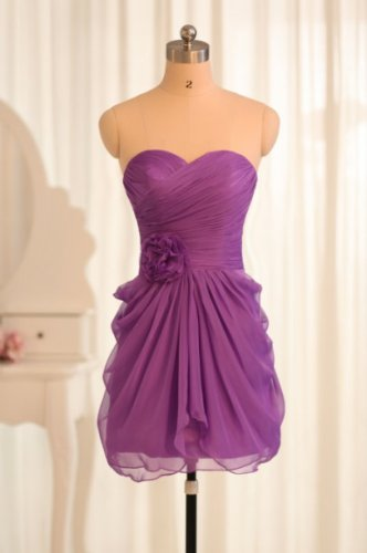 Short Bridesmaid Dresses Purple Chiffon A-line Sweetheart Strapless Wedding Party Dress MB151