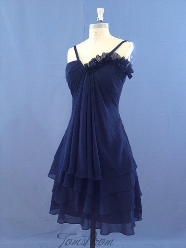 Short Bridesmaid Dresses Royal Blue Chiffon A-line Sweetheart Wedding Party Dress MB152