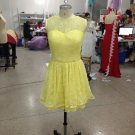 Short Bridesmaid Dresses Yellow Lace Wedding Party Dress MB150