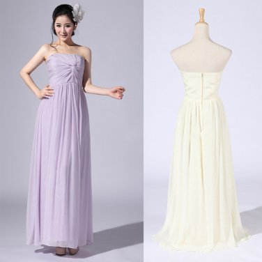 New Bridesmaid Dresses Lavender Cream Chiffon A-line Strapless Wedding Party Dress MB155