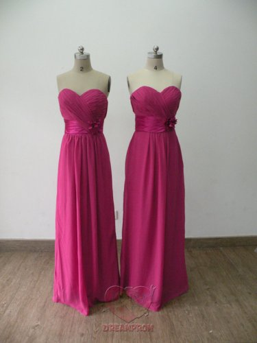 New Bridesmaid Dresses Fuchsia Chiffon Size 2-16+Custom A-line Strapless  Party Dress MB165