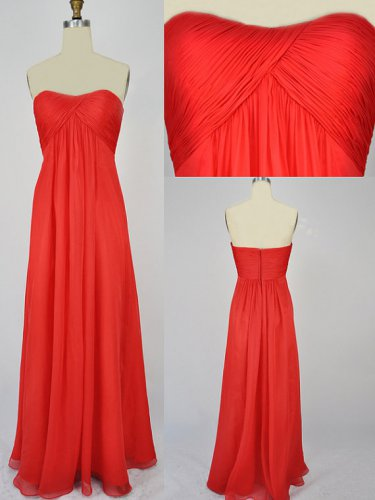 New Bridesmaid Dresses Red Chiffon Size 2-16+Custom A-line Strapless  Party Dress MB166
