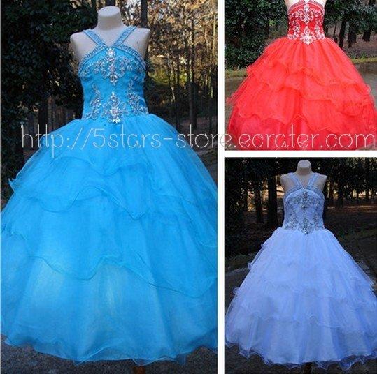 Custom Blue Red Orange Girl's Wedding Party Prom Gown Flower Girl Dress