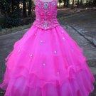 Custom Blue Hot Pink Orange Girl's Wedding Party Prom Gown Flower Girl Dress