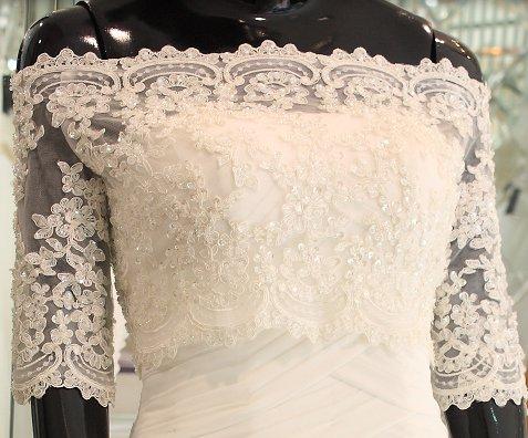 Bridal Vest 3/4 Sleeve Alencon Lace white ivory Off Shoulder Beads  Wedding Bolero Jacket RJ177