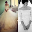 Strapless Wedding Dress Half Sleeve Appliqued Princess Cathedral Train Wedding Dress Gowns W111