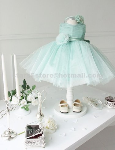Beautiful Beaded Girl's Wedding Party Prom Ball Gown and Bow with Sash Flower Girl Dress F104