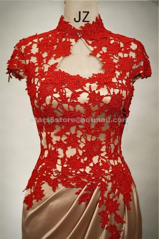 Sheath Mother of the Bride Dress High Neck Knee Length Cap Sleeve   Appliqued Wedding Formal Dress
