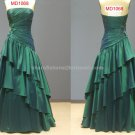 Strapless Evening Dress Sleeveless A-line Crystal Tiered Wedding Party Prom Gowns EP12