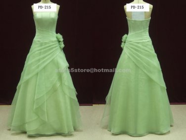 Strapless Chiffon Evening Dress Sleeveless Pleat with Flower Tiered Wedding Party Prom Gowns EP13