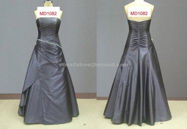 Sleeveless A-Line Satin Evening Dress Beading Crystal Backless Wedding Party Prom Dress EP15