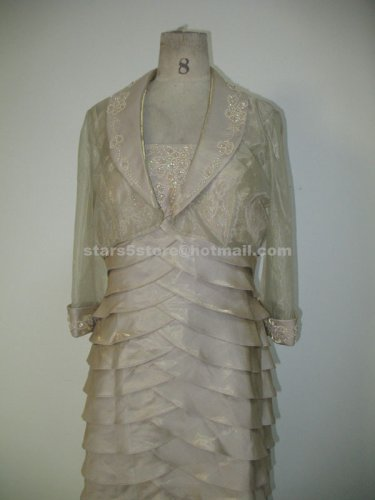 Tiered Mother of the Bride Dress with Jacket Appliqued Crystal Mother of the Bride Dress Mm09