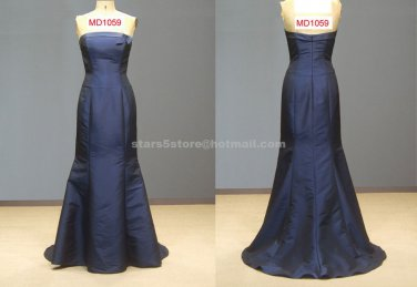 Dark Blue Mother of the Bride Dress Strapless Mermaid Court Train Mother of the Bride Dress Mm019