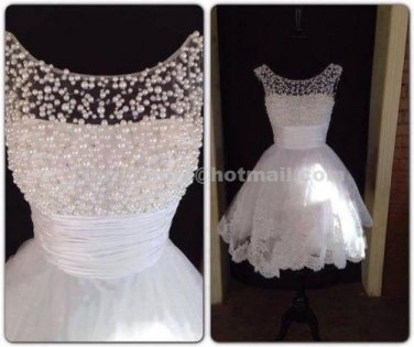 Fashional Party Dress Short Cap Sleeves Mini Length Pearls Beading Wedding Cocktail Dress CL03