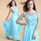 Straight Chiffon Evening Dress Scoop Neckline Appliqued Sleeveless Prom Evening Gowns EP24