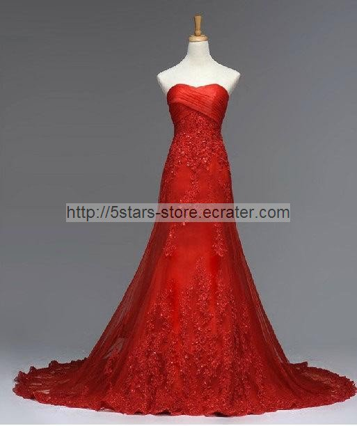 Strapless Wedding Dress Red White Ivory Bridal Mermaid Lace Sequins Wedding Gown BL01