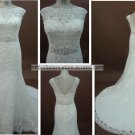 Sheer Scoop Neckline Wedding Dress Mermaid Lace Satin Beading Bridal Dresses BL07