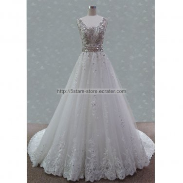 A-Line Bridal Gown V-neckline Crystal Jewelry Sash Lace Tulle Luxury Wedding Dresses Bl10