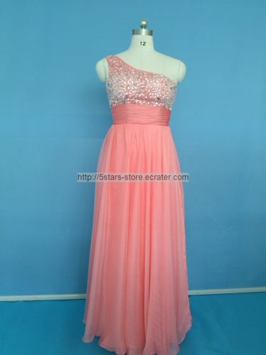 New Bridesmaid Dresses Coral Chiffon A-line One Shoulder Beading Evening Party Formal Dress MB173