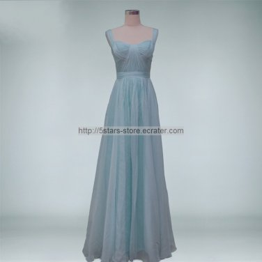 New Bridesmaid Dresses Skype Blue Red Chiffon A-line Straps Evening Party Formal Dress MB175