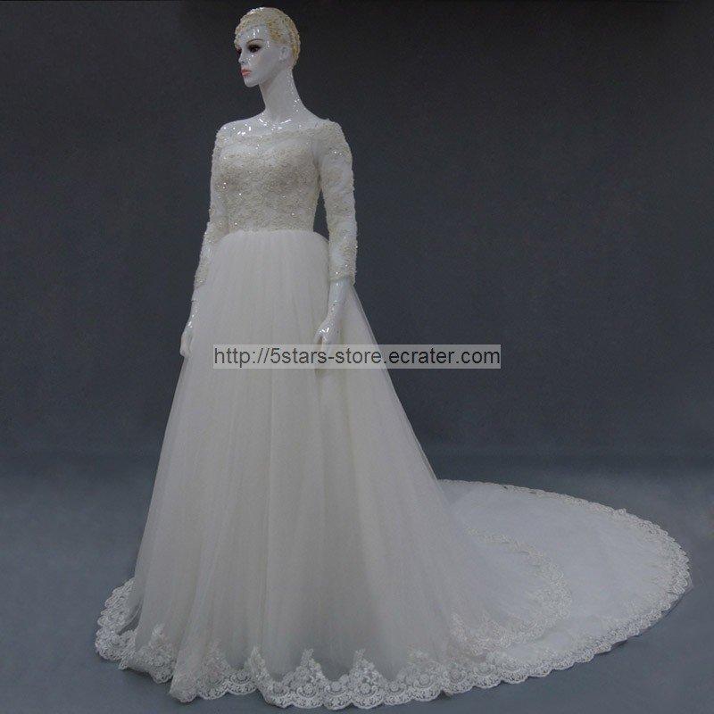 Lace Bridal Gown Sequins 3/4 Sleeves Off Shoulder Wedding Dresses 2015 New Bl20