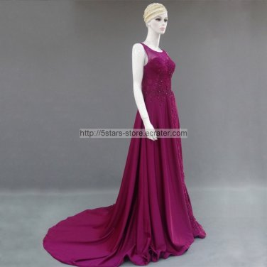 Fuchsia Wedding Formal Gowns Side Split Lace Crystals Long Evening Prom Dress 2015 MM024