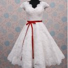 Short  Sleeves Wedding Dress A-line Ankle Length Lace Bridal Wedding Gown H15416