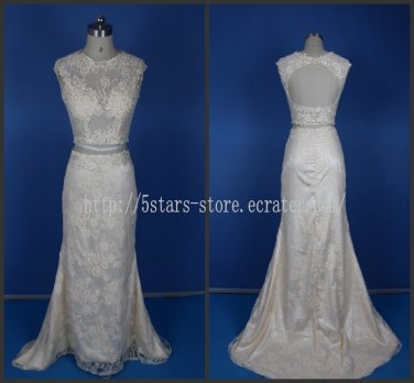 Lace Bodice Bridal Gown Beading 2015 New Two Pieces Mermaid Wedding Dresses Bl155