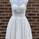 Boat Neckline Short Wedding Dress A-line Knee Length Lace Bridal Wedding Gown H15423