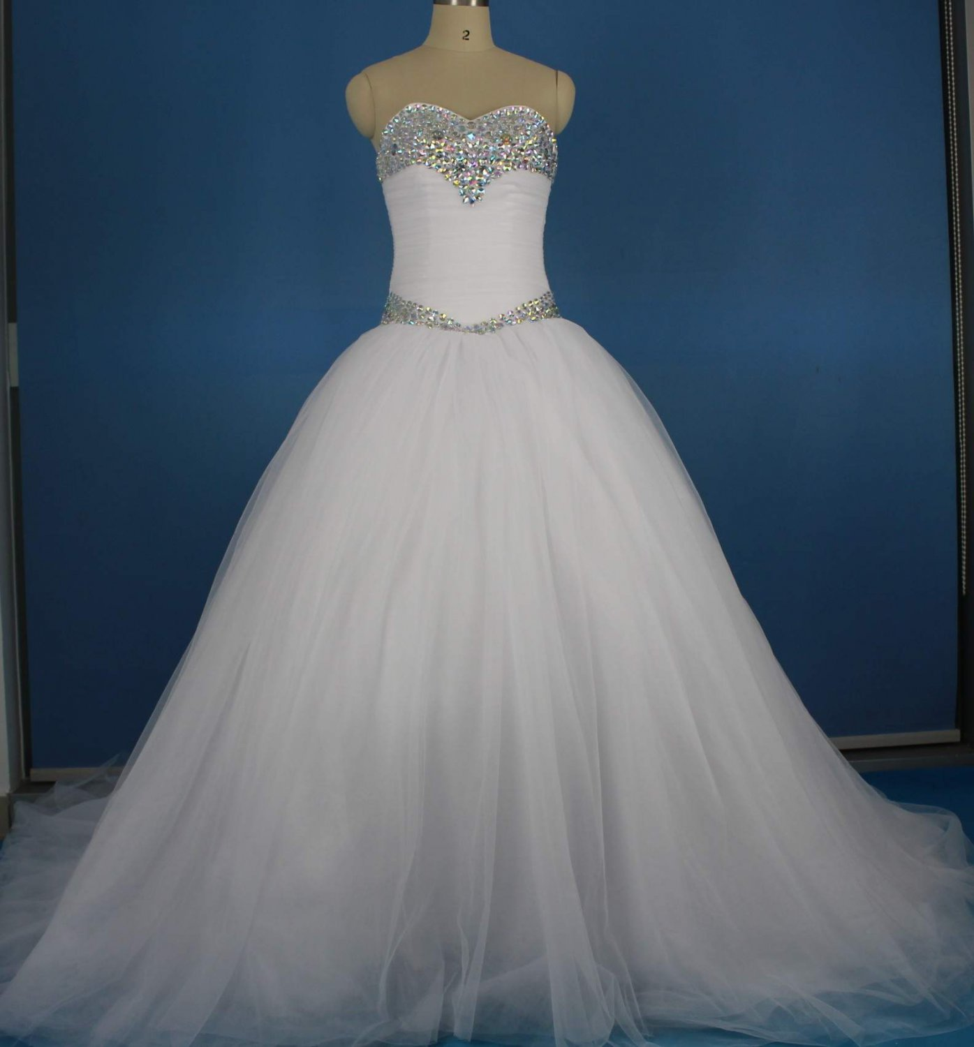 Layered Tulle Bridal Ball Gown Colorful Crystal Jewelry