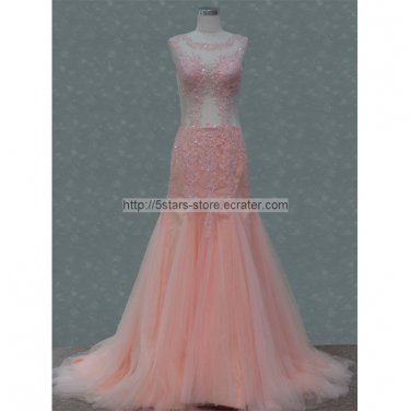 Round Neck Evening Dress Lace Tulle Coral Mermaid Crystal Wedding Dress Abrica Prom Gowns  D2015616