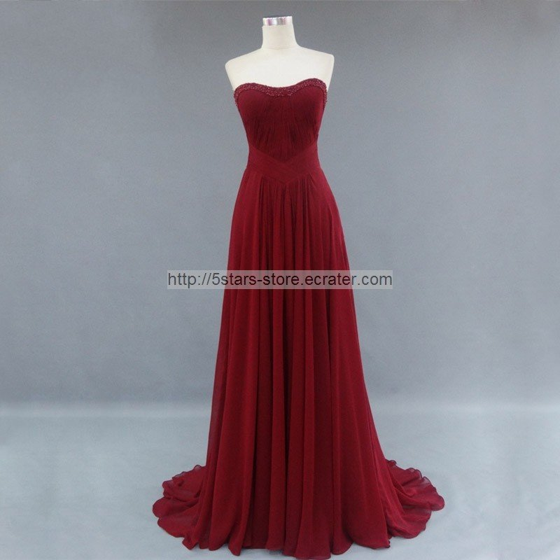 Wine Chiffon Evening Dress Pleated Sequins Crystal Royal Wedding Party Prom Gowns  D2015617