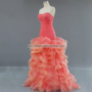 Organza Wedding Dress Coral Coffee Green Long Prom Ball Gowns Quinceanera Dresses D15655