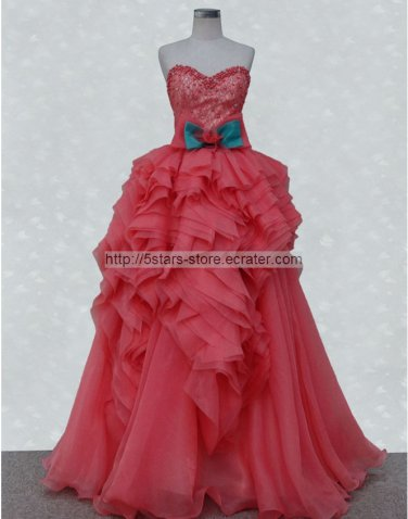 Organza Wedding Dress Red Blue Bow Pearl Prom Ball Gowns Quinceanera Dresses D2015619