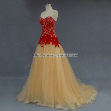 Red Lace Wedding Dress Gold Tulle Prom Ball Gowns Dresses D201606