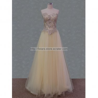 Cream Lace Wedding Dress Red Blue Prom Ball Gowns Evening Dresses D156241