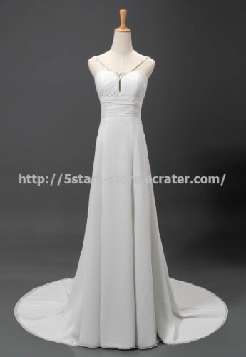New Spaghetti Strap Wedding Gown with Beaded Flowing Chiffon A-Line Bridal Dress D2015629