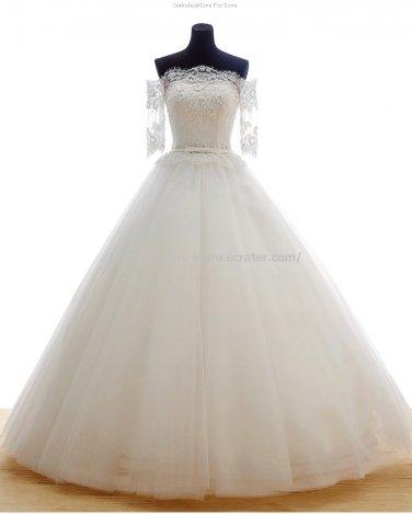 Strapless Bridal Dresses 1/2 Sleeves A-Line Floor-Length Wedding Dresses D2015652