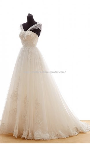 Capped Wedding Gown Backless  Long Train Zipper Lace Bridal Gown D2015655