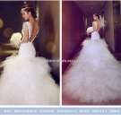 V-Neck Bridal Dresses Short Sleeves Deep Backless Monarch Train Wedding Gown D2015657