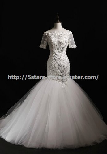 Applique Off-Shoulder Mermaid Dresses Short Sleeves Floor-Length Wedding Gowns D2015658